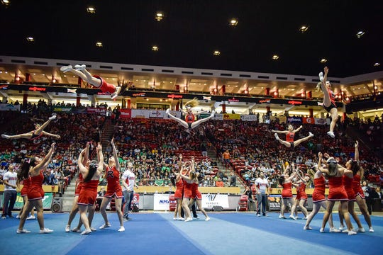 This 2018 photo shows competition at the New Mexico State Spirit Championships at The Pit in Albuquerque. The 2020 statewide high school cheerleading and dance competition may be terminated thanks to a rash of terrible sportsmanship.