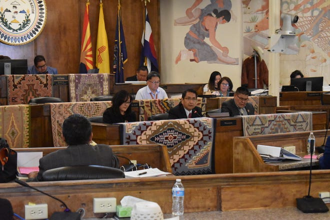 Navajo Nation President Jonathan Nez delivers the State of the Nation address on Monday to the Navajo Nation Council in Window Rock, Ariz.