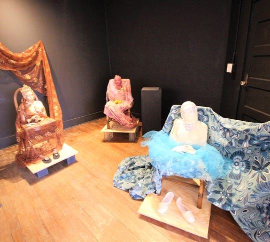 Sculptures by Joan Malkerson on exhibit at Gallery 408. Her work is inspired by her love for the dance.