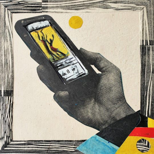 """Paula Wilson's piece """"Music in the Palm of Your Hand"""" is inspired from listening to music with his cellphone as the  entire world of music is available.  In the studio he puts on jams on his phone while he creates."""
