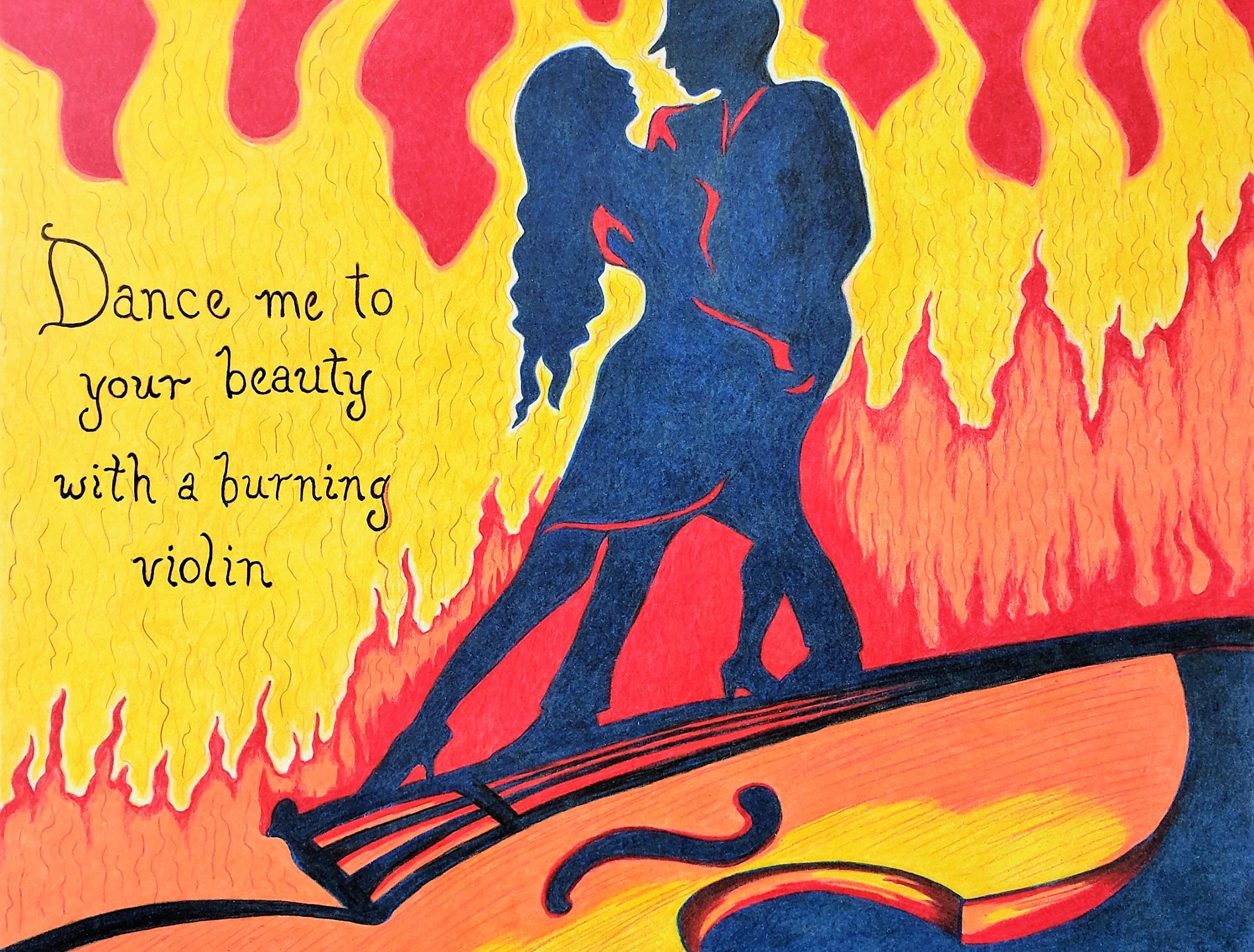 """Music as Music"" artist Carol Nagan's piece was inspired by her love for Leonard Cohen's poetry and music. She titled this ""Dance me to your beauty with a burning violin"""