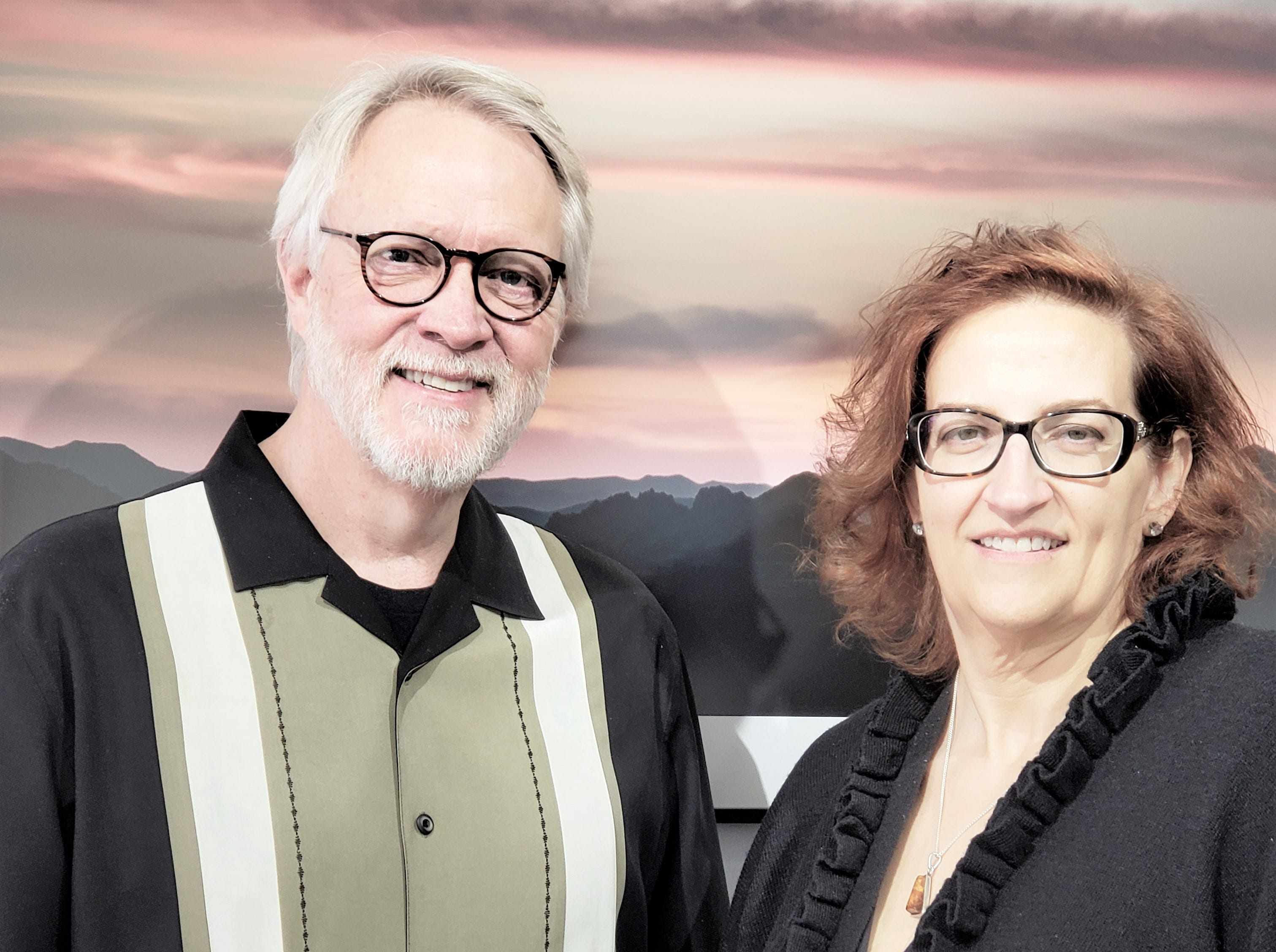 "John Courtney and Cynthia Johnson at the Limina Gallery for ""Meet the Artist"". Johnson organized the two-day event in celebration of World Art Day."