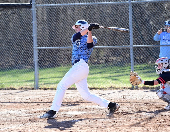 Livonia Stevenson's Nate Waligora had two singles against Churchill on April 15, 2019.