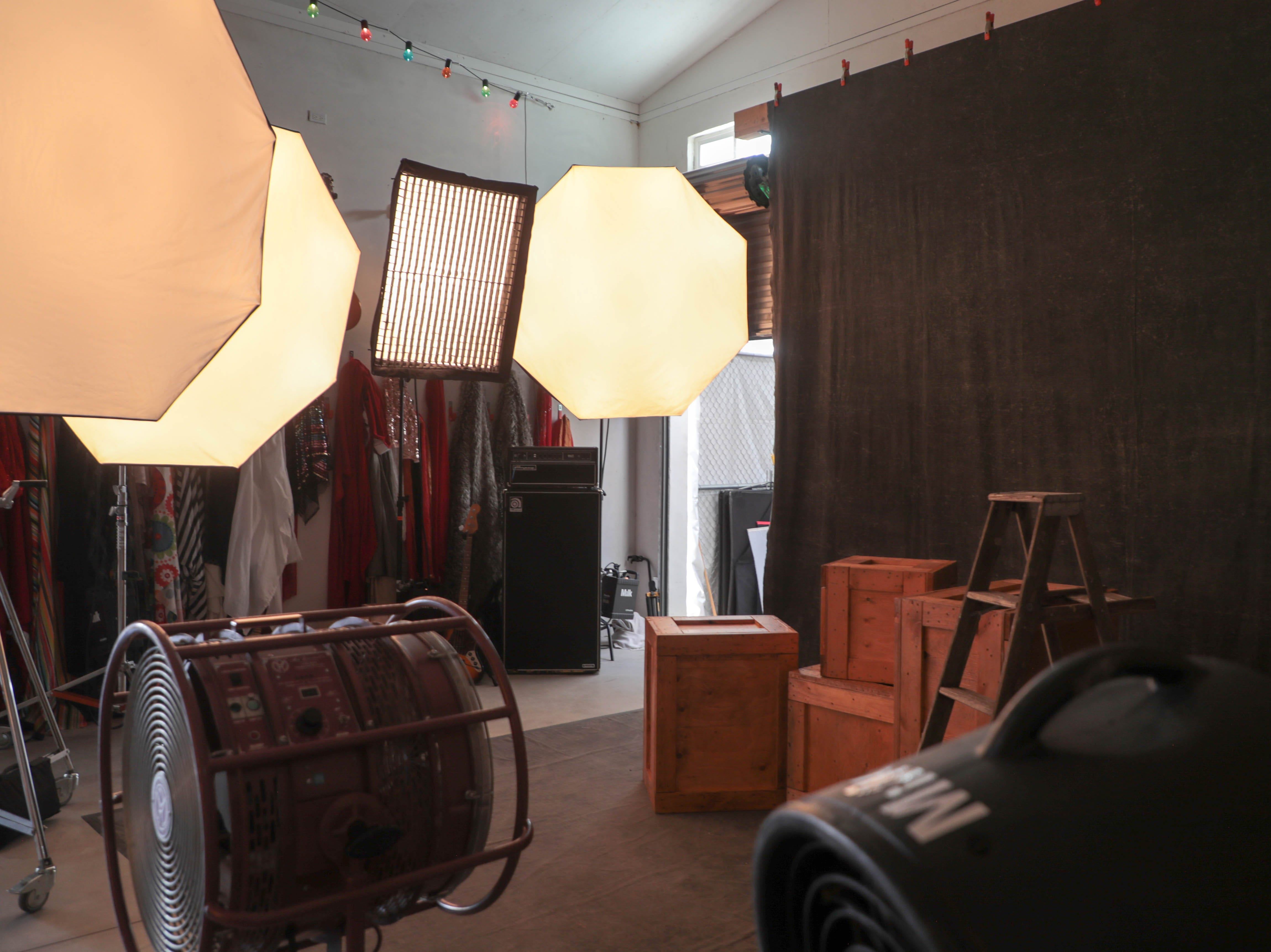 Lighting equipment and props sit in the studio of Andrew Haagen, who has been photographing artists in his photo tent at the Coachella Valley Music and Arts Festival in Indio, Calif. since the inception of the festival.