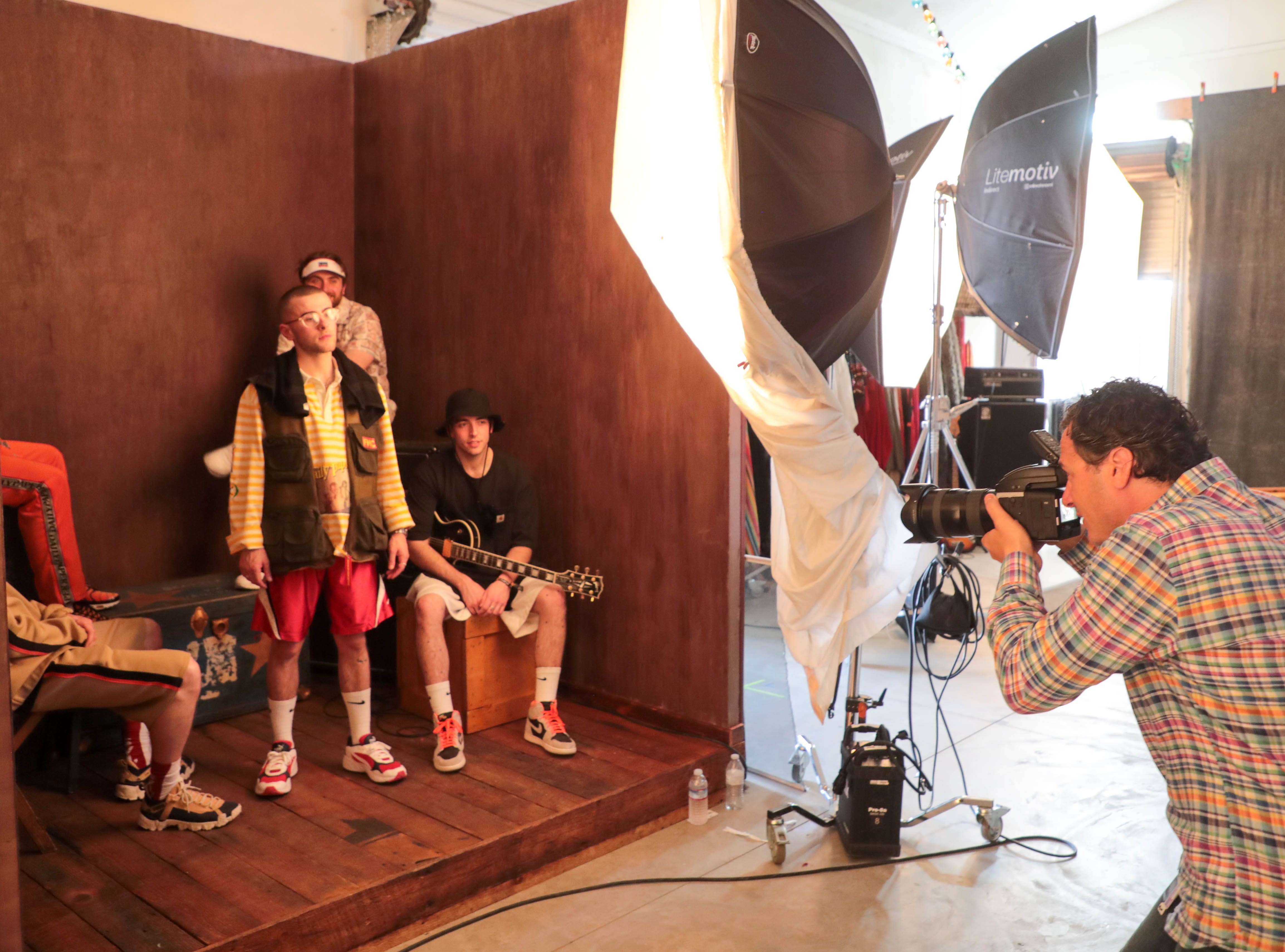 Andrew Haagen photographs Easy Life in his 'Artist Photo Tent' on Sunday, April 15, 2019 at the Coachella Valley Music and Arts Festival in Indio, Calif.