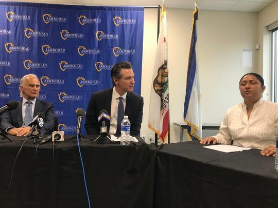 Gov. Gavin Newsom hosts a roundtable discussion addressing homelessness in San Bernardino