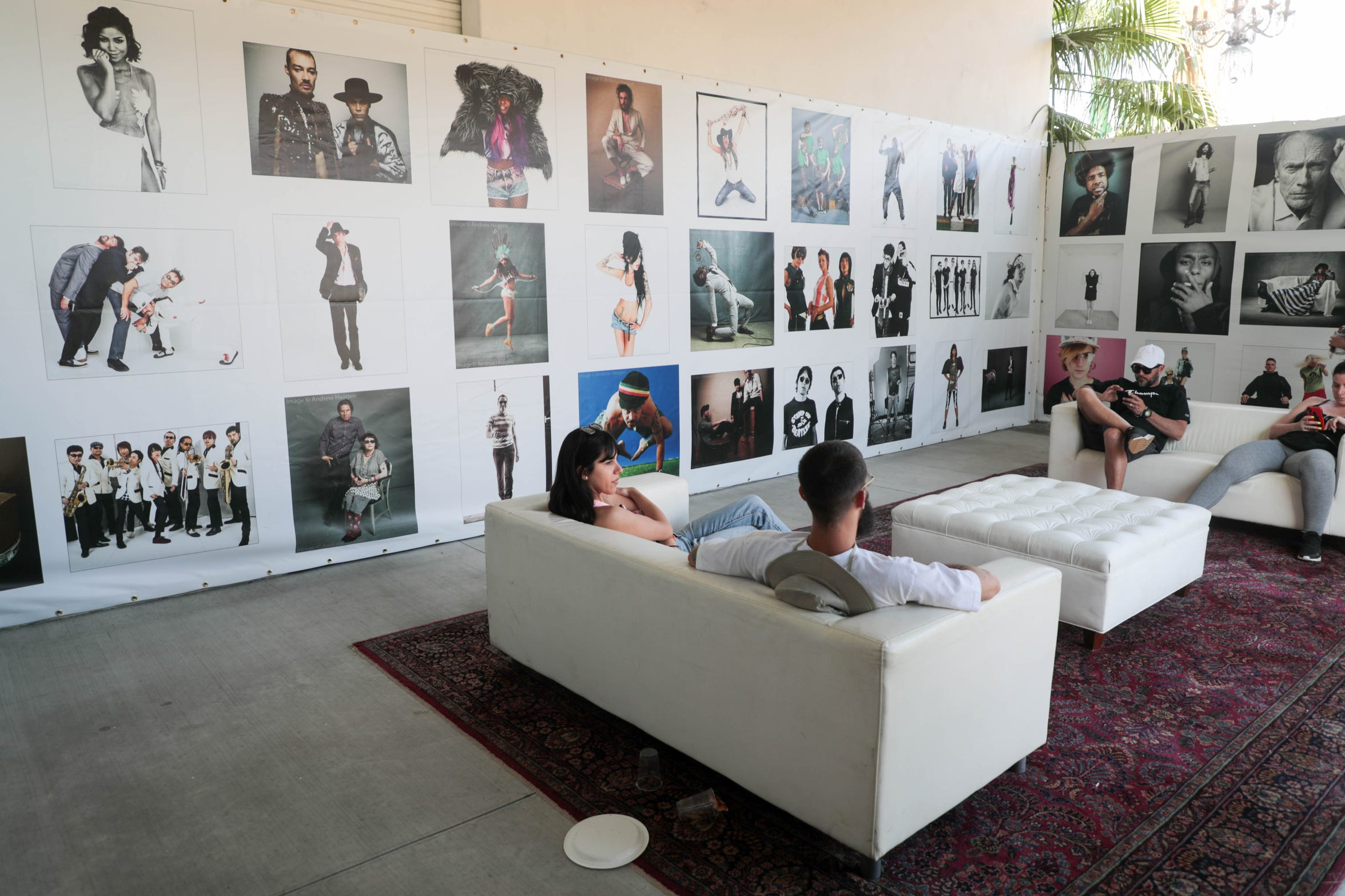The Artist Photo Gallery of Andrew Haagen sits on the Empire Polo Club on Sunday, April 15, 2019. Haagen has been photographing artists in his photo tent at the Coachella Valley Music and Arts Festival in Indio, Calif. since the inception of the festival.