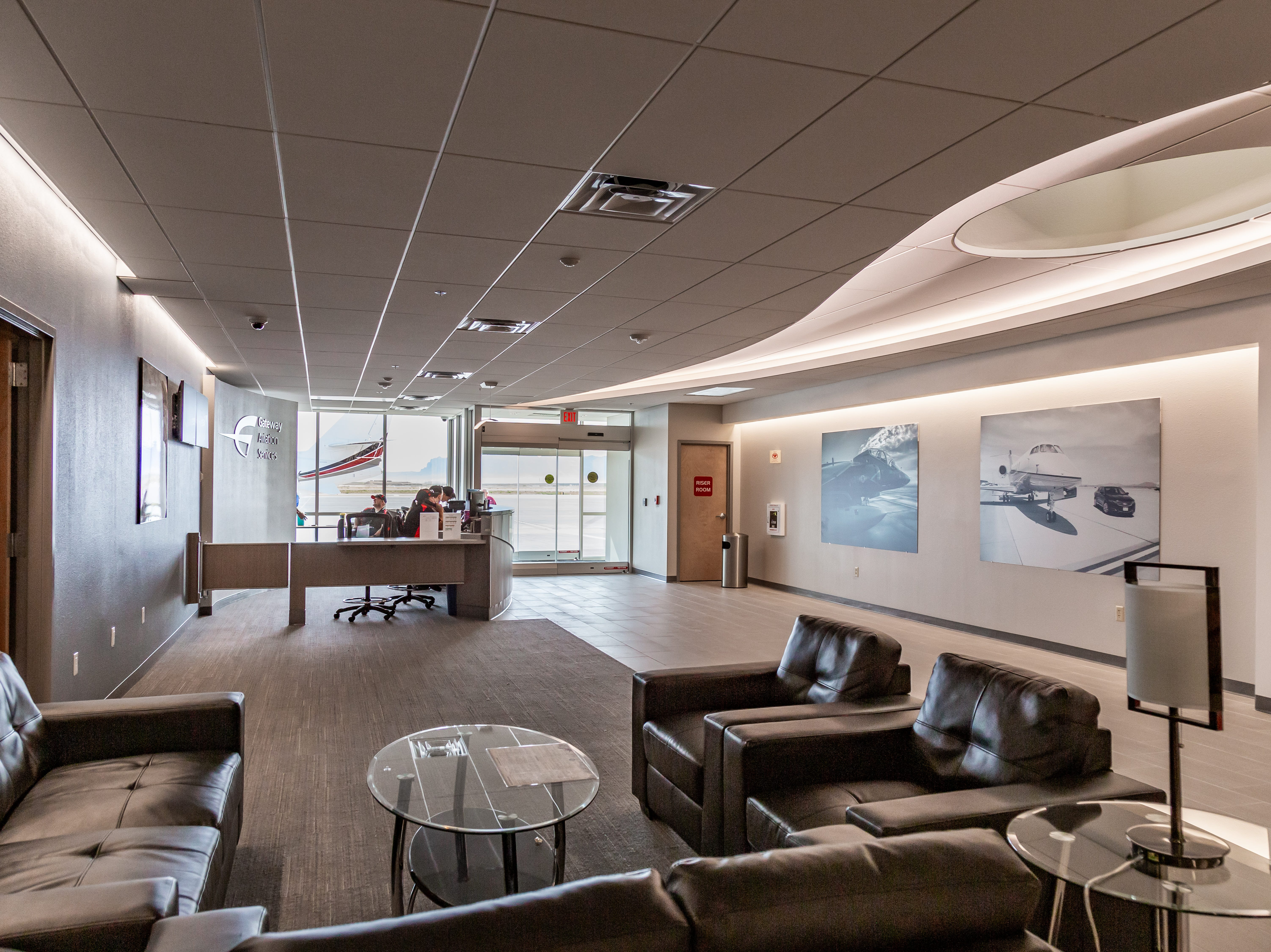 Inside the renovated Gateway Aviation Center, which hosts corporate and private jets as well as military pilots.
