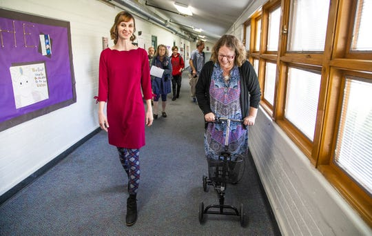 Melissa Wagoner, director of Northpoint Expeditionary Learning Academy charter school in Prescott, takes Arizona Superintendent of Public Instruction Kathy Hoffman on a tour of the school on April 1, 2019.