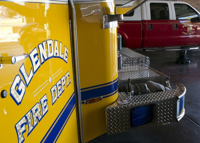 A Glendale Fire Department fire truck is pictured on February 7, 2019 in Glendale, Arizona.
