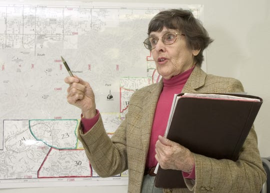 Greta Rogers speaks during a 2005 Ahwatukee Village planning committee meeting.