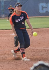 Poston Butte's Lindsay Lopez pitches against Glendale Cactus during a Monday, April 15, 2019 game.
