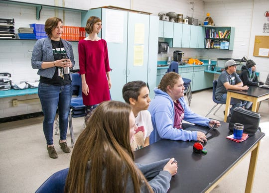 Alison Zych (left), guidance counselor at Northpoint Expeditionary Learning Academy charter school in Prescott, accompanies Arizona Superintendent of Public Instruction Kathy Hoffman to observe a class at the school on April 1, 2019.
