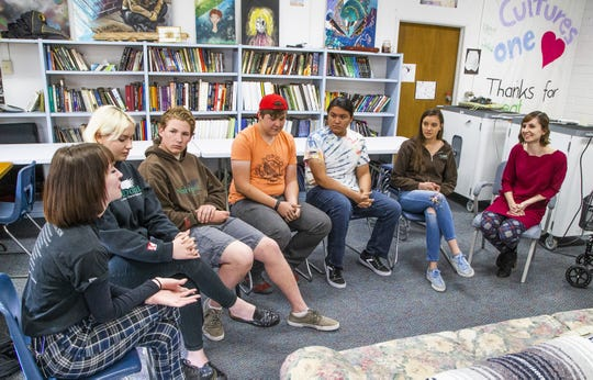Students from Northpoint Expeditionary Learning Academy charter school in Prescott speak with Arizona Superintendent of Public Instruction Kathy Hoffman, right, during her visit to the school on April 1, 2019. From left to right: Lauren McShane, Talija Vitols, Timothy Cardell-Carey, Dale Vanderlinden, Samuel Morgan, Sophia Grubert and Kathy Hoffman.