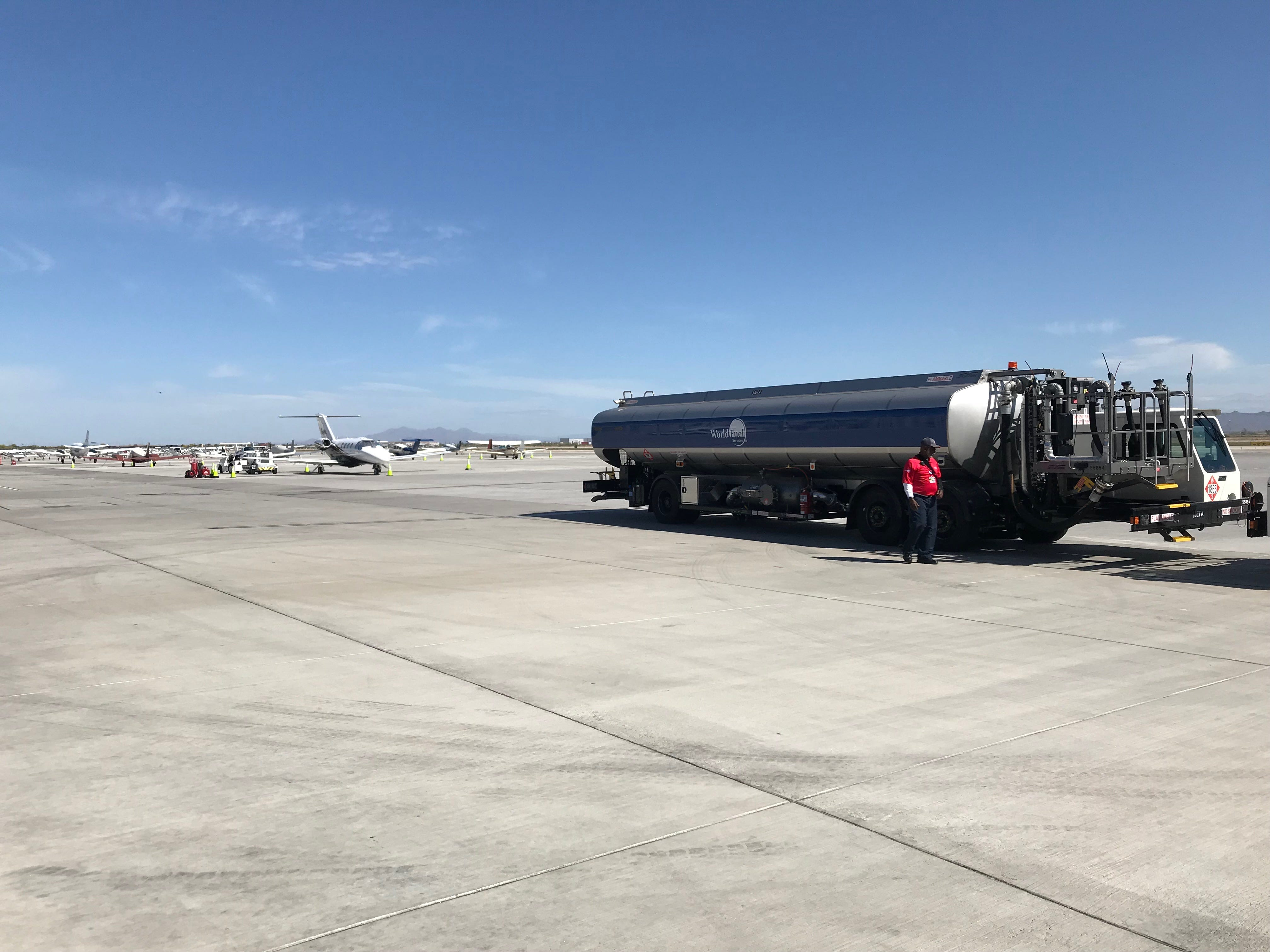 One of the trucks used to fuel aircraft at Gateway Aviation Services. Phoenix-Mesa Gateway Airport pumps more than 17 million gallons of fuel a year to commercial and private aircraft.