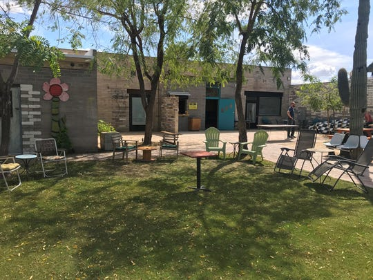 Thunderbird Lounge in Phoenix has a backyard where people can enjoy drinks while playing giant Jenga or cornhole.