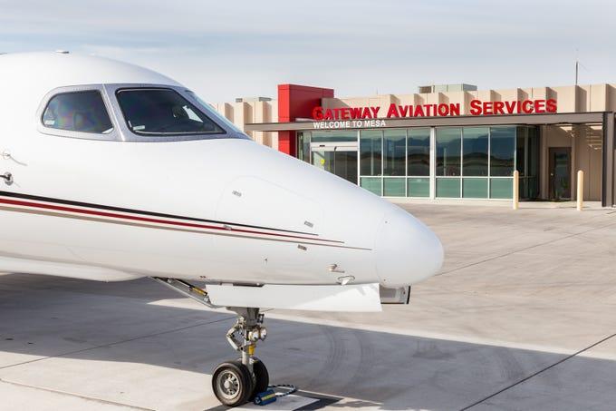Outside the Gateway Aviation Center at Phoenix-Mesa Gateway Airport.