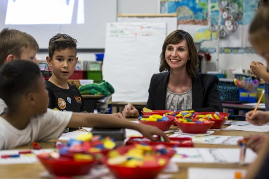 Arizona Superintendent of Public Instruction Kathy Hoffman visits students during class on April 4, 2019, at Mercury Mine Elementary School in Phoenix.
