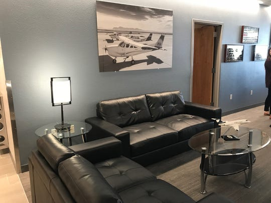 Seating in the renovated Gateway Aviation Center at Phoenix-Mesa Gateway Airport.
