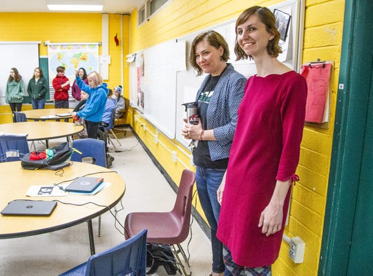 Alison Zych, guidance counselor at Northpoint Expeditionary Learning Academy charter school in Prescott, accompanies Arizona Superintendent of Public Instruction Kathy Hoffman, right, to observe a class at the school on April 1, 2019.