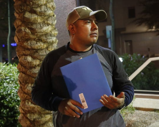 Jose Arturo Gonzalez Carranza, 30, stands in downtown Phoenix shortly after being released ICE custody on April 15, 2019.