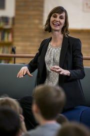 Arizona Superintendent of Public Instruction Kathy Hoffman talks to students at Mercury Mine Elementary School in Phoenix on April 4, 2019.