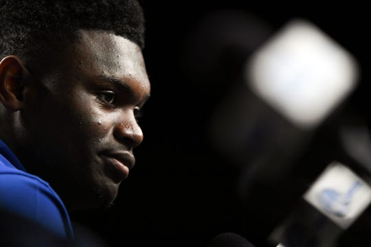 Apr 5, 2019: Duke Blue Devils forward Zion Williamson accepts the Oscar Robertson Trophy  during a press conference for the 2019 men's Final Four at US Bank Stadium.