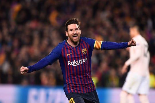 Lionel Messi celebra uno de sus goles ante el Manchester United.