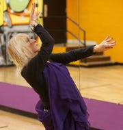 Sarah Bell demonstrates her belly dancing at the Hudson Valley Community Center in the City of Poughkeepsie on April 15, 2019.