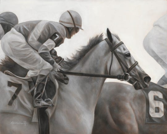 """Grey Expectations"" is one of Linda Shantz's horse-racing scenes on exhibit at Equis Art Gallery."