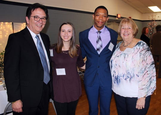 The 2019 Penn State Mont Alto Renaissance Scholarship Honorees Mike (left) and Donna Ross (right) with current Mont Alto Renaissance Scholars Allison Meyers '20 and Santiago Morillo '20.