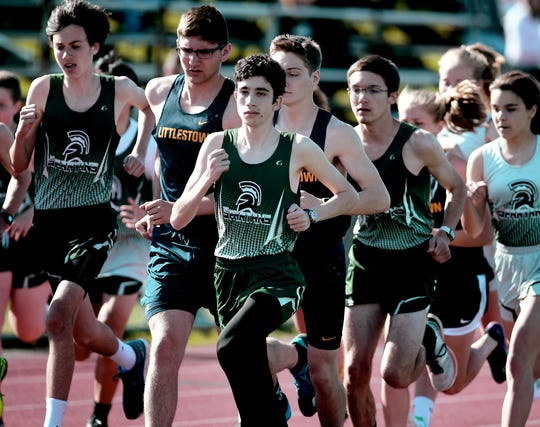 York County School of Technology's Joseph Rizzuto, center, emerges from the pack en route to winning the 1600-meter run during a home meet against Littlestown Tuesday, April 16, 2019. Bill Kalina photo