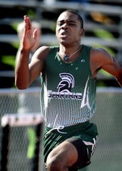Jaiere Alford, seen here in a file photo, won the 100 and 200 dashes for York Tech on Tuesday against Bermudian Springs.