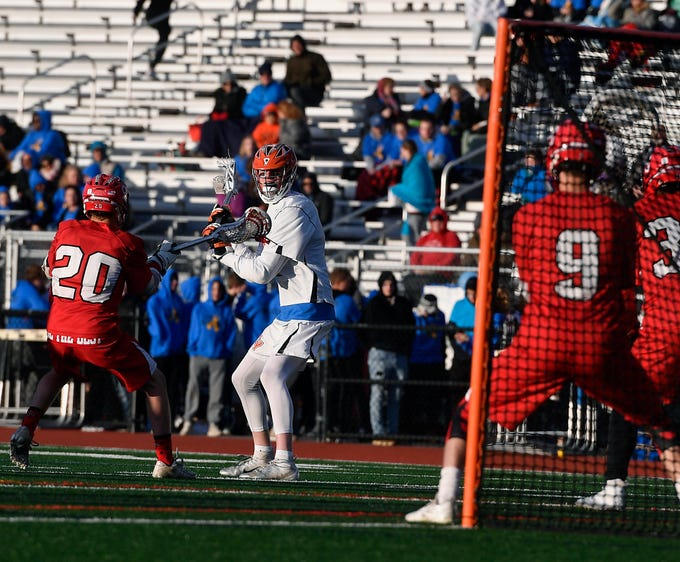 Ryan Fahs of Central York takes a hard look at the net after scoring the first goal of the game in the previous possession by the Panthers as they face Susquehannock, Monday, April 15, 2019.John A. Pavoncello photo