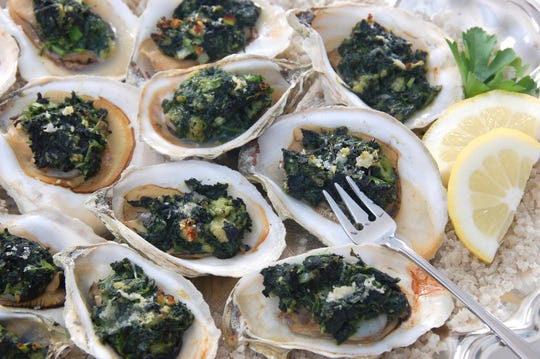 Oysters Rockefeller are being served at the 2019 Easter Sunday buffet in the Grand Ballroom of the Atlantis Casino Resort Spa.