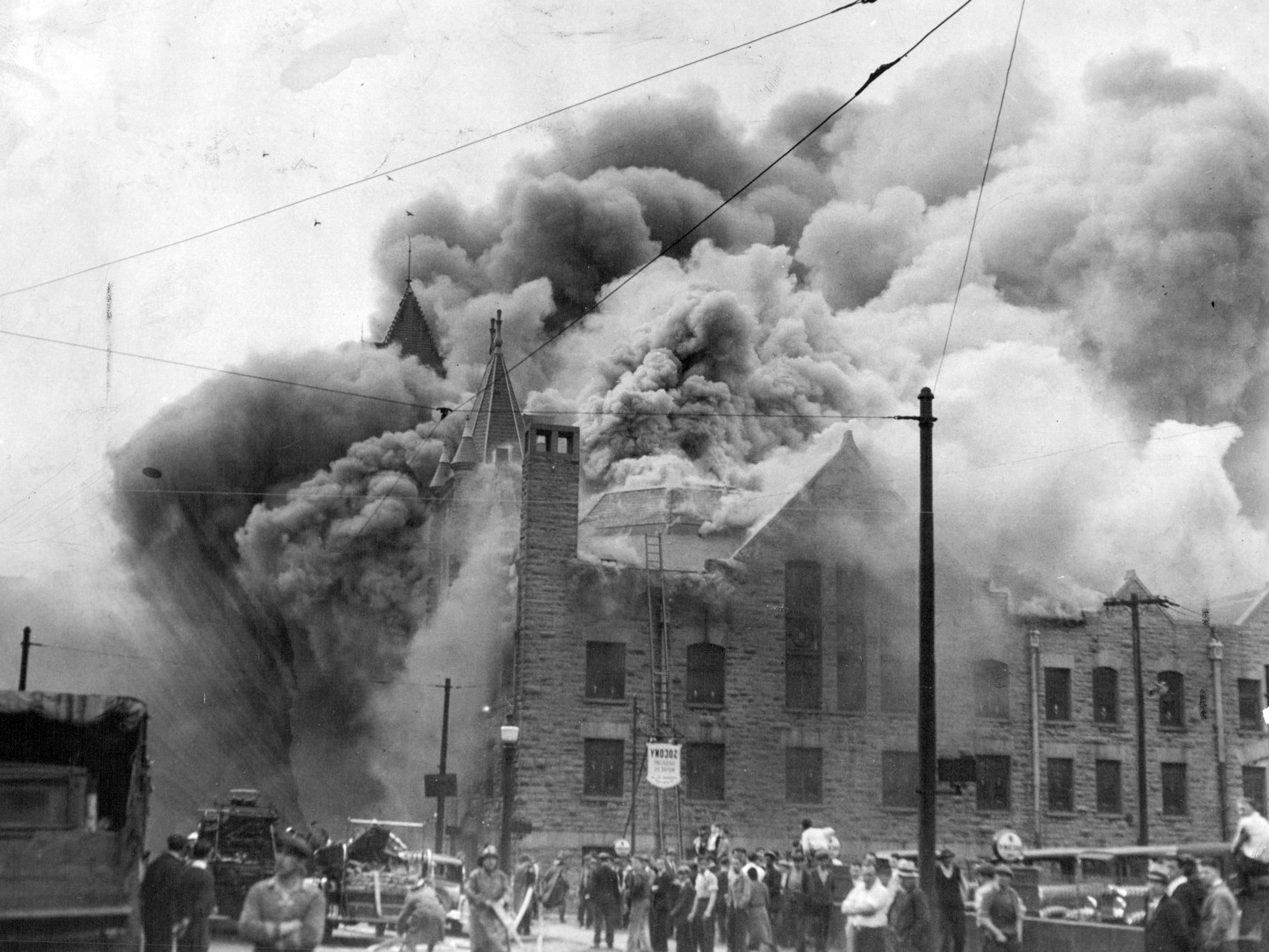 This 1933 fire at First Methodist Church, located at the corner of Fitzhugh and Church streets, injured 30 firefighters.