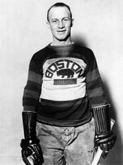 "The man behind the AHL's Eddie Shore Award. This photo shows Edie Shore, on Dec. 27, 1929. The Associated Press caption read: ""A defenseman extra ordinary of the Boston Bruins, leaders in the National Hockey League, and the idol of the Bean Town ice fans. Eddie is regarded by many followers of the exciting sport as the most valuable man in the league, and, although he plays a defense position, he is equally adept on the forward line.''"