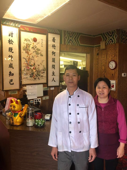 Chef Yong Wen Ma (left) and Xiu Zhen Huang (right) at their new restaurant, Lucky Dragon Chinese in Independence
