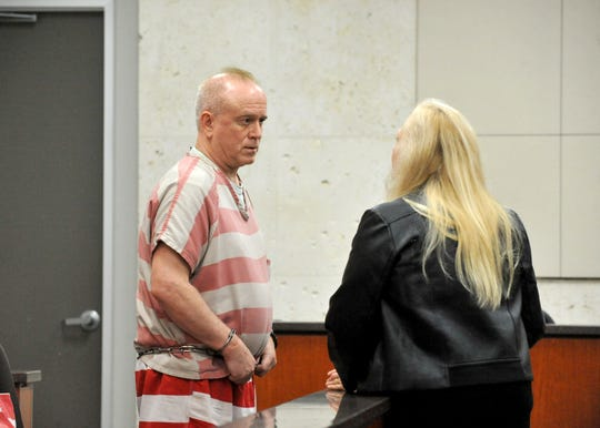 Richard Heiner appears in court for arraignment on April 16, 2019.