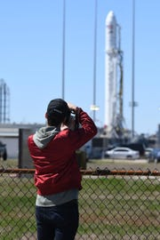 NASA's social media group gets a chance to stop and take photos of the Antares rocket as it sits on pad 0-A at the NASA's Wallops Flight Facility in Wallops Island, Va. on Tuesday, April 16, 2019 in preparation for its launch on Wednesday, April 17, 2019 to the International Space Station.