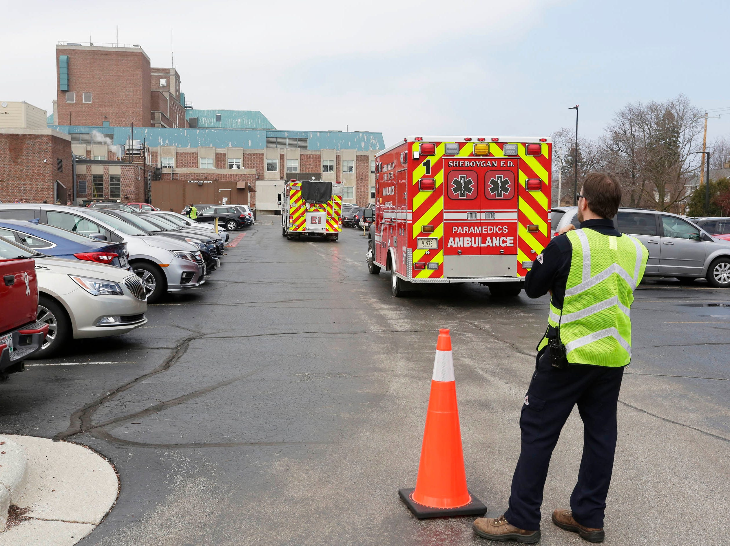 DRILL EXERCISE:  A scene at the perimeter of a  training exercise for Sheboygan area emergency agencies, Tuesday, April 16, 2019, in Sheboygan, Wis.