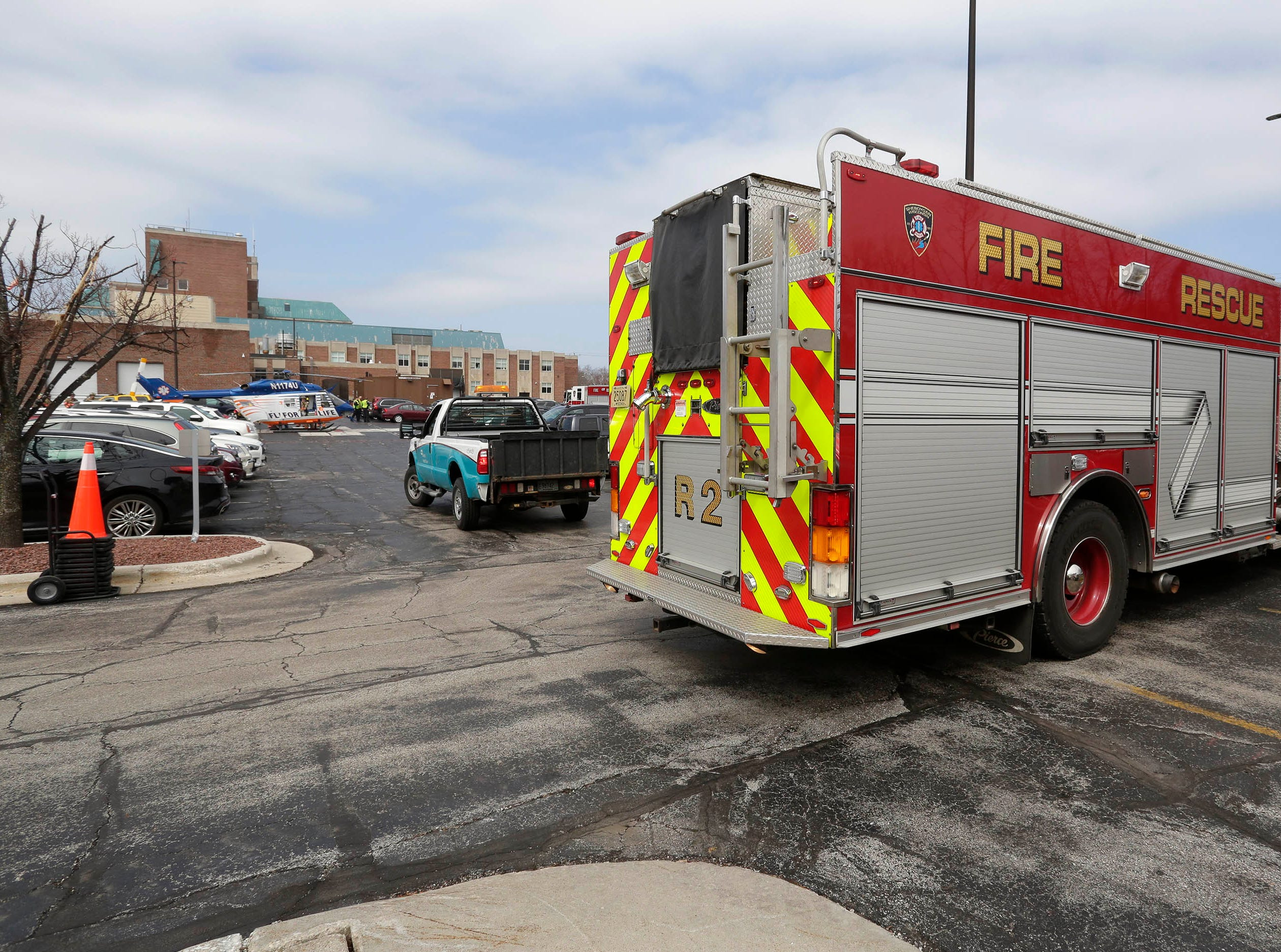 DRILL EXERCISE: A Sheboygan Fire truck is parked near Aurora Sheboygan Medical Center during an emergency training exercise, Tuesday, April 16, 2019, in Sheboygan, Wis.