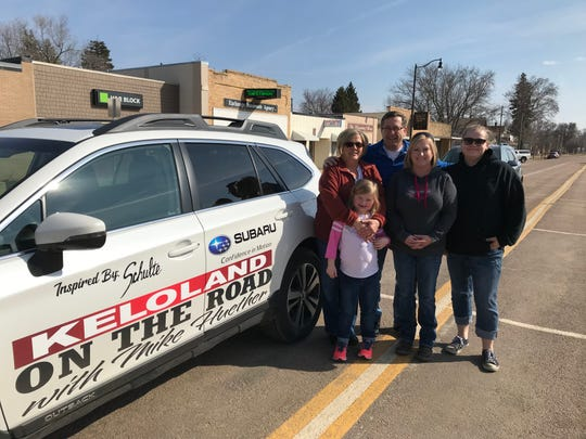 "Mike Huether's show ""On the Road with Mike Huether"" debuted on KELO-TV on April 6 and featured a family from Lennox, pictured posing for a photograph with the former Sioux Falls mayor."