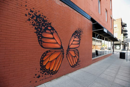 "Wolf Residential LLC is renovating the 328 South Avenue building, including a new paint job that didn't match this mural, ""The Monarch."" Artist Andrea Ehrhardt recently repainted the image, often called ""the selfie butterfly,"" on the side of Riad restaurant at 400 South Ave."