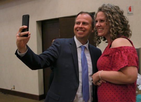 Superintendent John Jungmann takes a selfie with Springfield's 2019-20 Teacher of the Year Courtney Dameron. She teaches at Hillcrest High School.