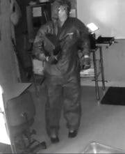 Surveillance footage shows a suspect during a Sunday night break-in at Sam's Hot Dogs on Stuarts Draft Highway.