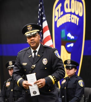 St. Cloud Police Chief Blair Anderson speaks during a ceremony at police headquarters in 2016.
