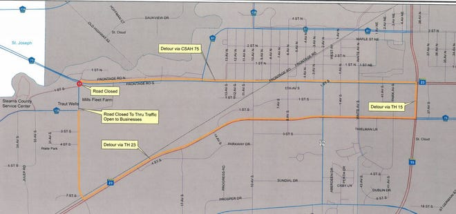 Detours will be available for traffic during the closure of 28th Avenue South between Stearns County Highway 75 and Stearns County Highway 138, which begins April 17.