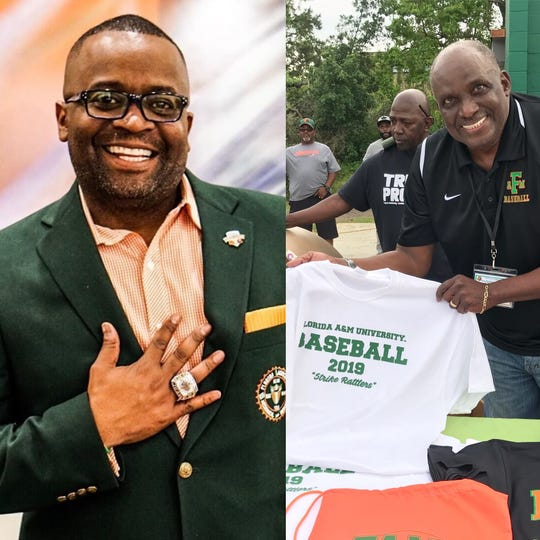 Col. Gregory Clark (left) and Tony Bell are among the eight Rattlers selected for enshrinement in the FAMU Sports Hall of Fame. They'll receive their green blazers on Sept. 13, 2019.