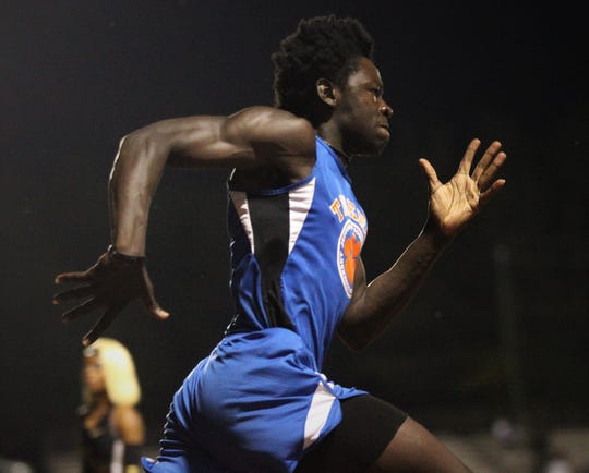 Jefferson County junior Detrevian Nealy races during the District 3-1A and 2-2A track and field meets at Florida High on Saturday, April 13, 2019.